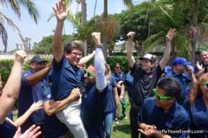 corporate team building group in Orange County cheering
