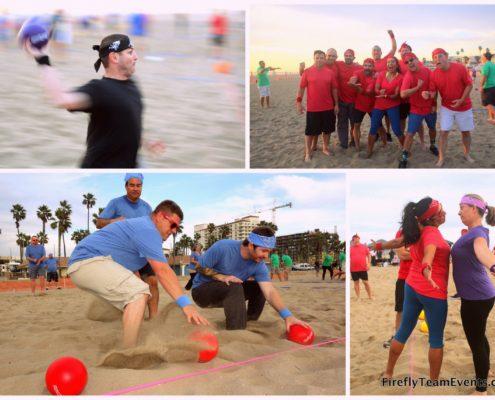 dodgeball team building event beach