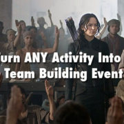 title card for team building event featuring woman