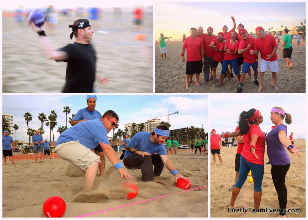 dodgeball team building event beach