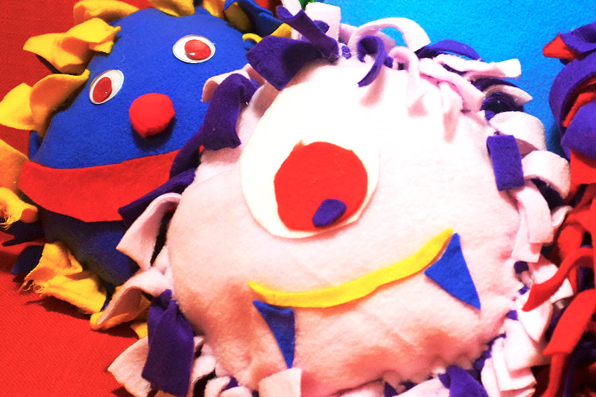 colorful fleece stuffed monsters for kids