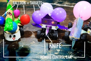 remote control cars with knives and balloons attached