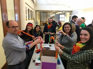 corporate group assembles a dog care package for charity